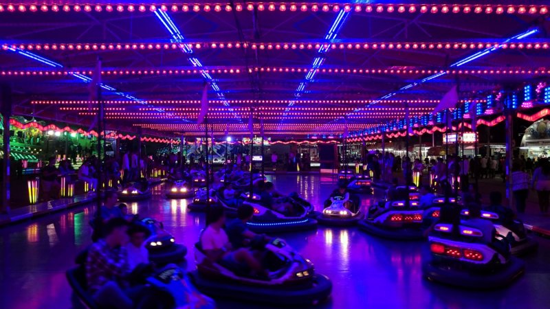 purple bumper cars battle