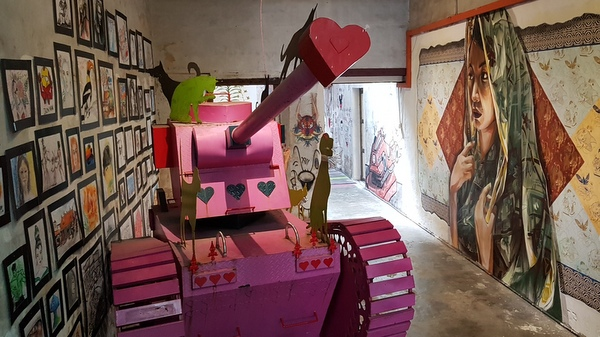 pink tank make love not war art creativity